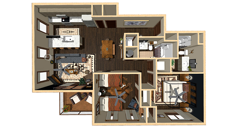 Workforce Condo 2 Bed Finished Floorplan