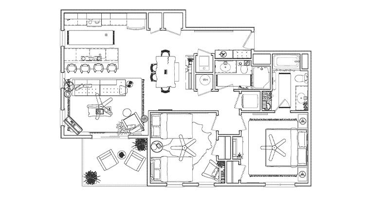 Workforce Condo 2 Bed Floorplan