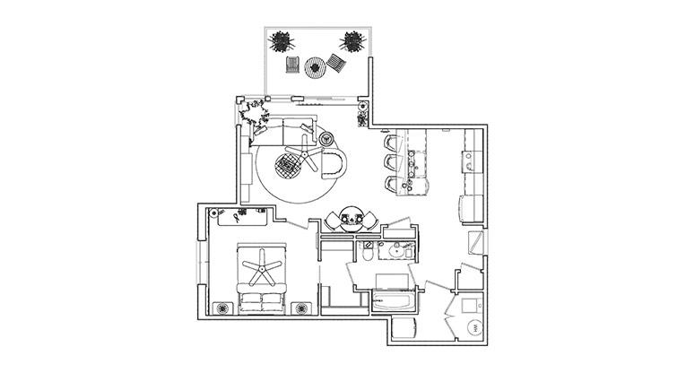 Workforce Condo Floorplan Furnished
